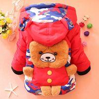 Kids 2014 winter new camouflage coat the back of the bear boy child jacket coat