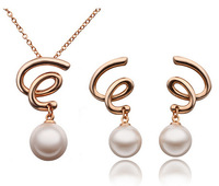 Promotion Factory Price Rose Gold White Ball Pearl Necklace Earrings Jewelry Set for Women Girls Ladies Wedding Jewelry Set
