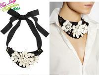 2014 New Arrival Fashion Statement Flower Acrylic Bib Silk New Brand Design Luxury Crytsal Women Hotsale CHoker Necklace 9712