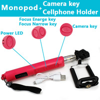 Wireless Bluetooth Monopod Selftimer Built-in Remote Controller Zoom Shutter For Iphone 6 5 4s Samsung IOS Android Free Shipping