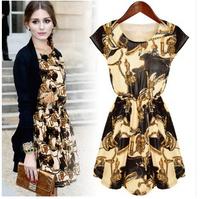 Fashion summer dress vintage o-neck sleeveless loose dress free shipping women printed dress party dressLJ136XGJ
