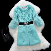 Factory 2014 New Style Women's Fashion Real Rabbit Fur Coat /Fur Garment O-Neck Splicing Fox Fur Cuff  Retail And Wholesale