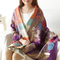 Regal parent autumn and winter oversized women's jacquard tassel scarf lengthen thickening thermal cape dual