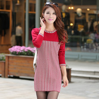 Free shopping autumn and winter plaid double layer thickening slim knitted one-piece dress