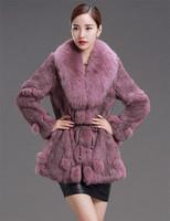 2014 New Arrival Women's Genuine Long Rabbit Fur Coat With Big Fox Fur Collar
