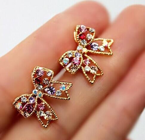 Bling Beauty Cute Fashion Graceful Colorful Rinestone Bowknot Earrings Studs Bow Earring E127