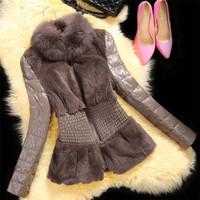 Factory 2014 New Style Women's Fashion Real Rex Rabbit Fur Coat With Fox Fur Collar Splicing Sheepskin Leather Sleeve