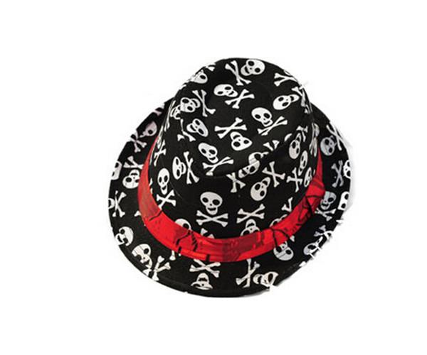 Kids Cotton Skull Print Pirate Captain Hats Boys Fedoras Hats Polite Jazz Cap Korean Black Headwear For Spring Autumn(China (Mainland))