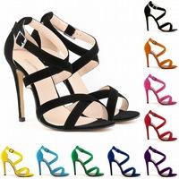 2014 new sandalias women flannel cross buckle open toe stiletto sexy summer Sandals high heels sandalias femininos size 4.5-10.5