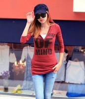 2014 New Fashion Spring Women's Slim Long-sleeve With a Hood Letter Ultra Slim Elastic Female T-shirt