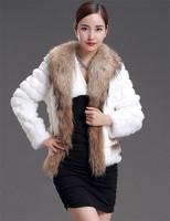 Factory 2014 New Style Women's Genuine Rabbit Fur Coat /Fur Clothing With Big Raccoon  Fur Collar Wholesale