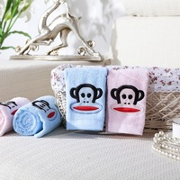 Christmas gift 4pcs lot embroidered brand explosion models Hot mouth monkey lovers cotton towel christmas for children