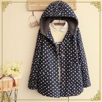 Winter women's dot print plus velvet with a hood wadded jacket outerwear Snow Wear