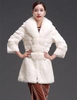 Factory 2014 New Style Women's Genuine Rabbit Fur Coat /Fur Clothing With Big Fox Fur Collar