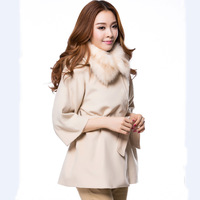 British style high quality women's cashmere overcoat large fur collar cloak outerwear