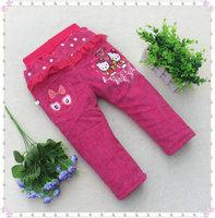 2014 hot sale winter cartoon cute children pants Corduroy girls trousers wholesale low price 1-5 years old