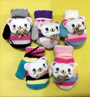 Baby Boys Girls Gloves Rabbit Fur Winter Gloves Plush Toy Kid Gloves Knitted Finger Gloves For Children 2-6 Years Old