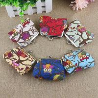 Cute Owl Print Mini Coin Purses Multi Styles Women Lovely Portable Owl Print Mini Coin Bag Canvas Mini Purse Case