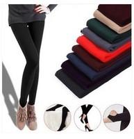 2014 women leggings autumn winter fitness boots leggings skinny slim solid color black warm cashmere thicken AZ123