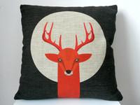 "New Arrival Decor Cotton Linen Square Throw Pillow Case Sofa Cushion Cover  pillowcase Shell Deer Under The Moon 18"""
