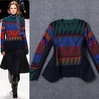 Fall 2014 Runway Wool Patchwork Wool Knitting Long Sleeve Sweater for Women 141118LJ01