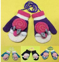 Lolipop Baby Girls Gloves Winter Knitted Warm Gloves Thick Kid&Children Cartoon Gloves