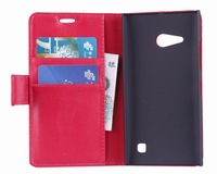 5PCS/Lot Lichi Wallet Leather Case Cover For NOKIA lumia 730 735  with stand and card slot