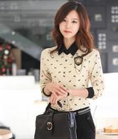 blusas femininas 2014 Hitz Korean real velvet long-sleeved chiffon shirt female puppy printing bottoming shirt big yards tide