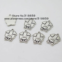 (30 pieces/lot)  16*20mm Antique Silver Metal Alloy Pig Charms Jewelry Charms 7705