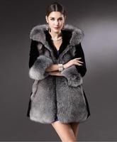 New 2014 women winter coat Elegant Luxury High-Grade Fox Fur Coat Stitching Import Rabbit Wool Overcoat women faux fur coat
