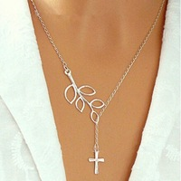New Fashion  Silver Simple CrossTree Branch Leaf  Choker Necklace product Designs for Women