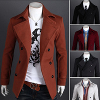 Winter casual Breasted men's Overcoat Free shipping Wholesale unique slim outerwear long design double breasted wool coat m14