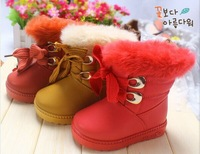 children girls winter snow boots fashion solid leather princess shoes lace up martin boots velvet plus fur thick keep warm