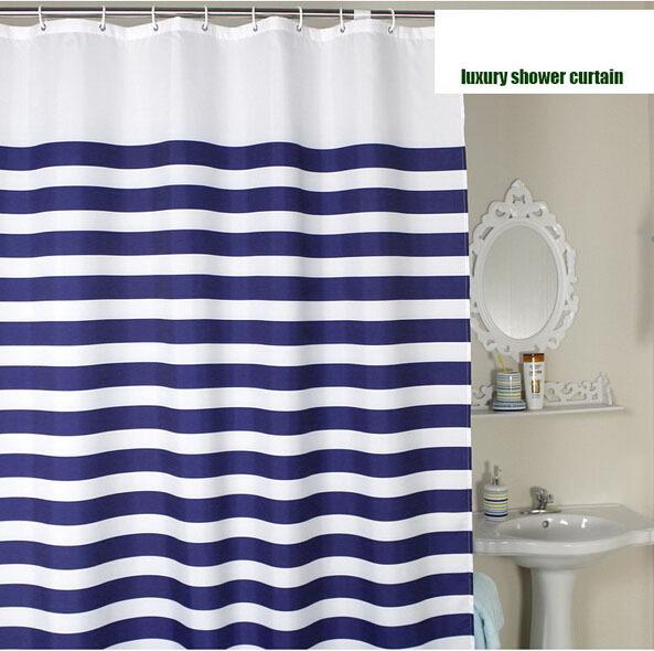 tenda della doccia bagno di lusso a righe bianco e blu ...