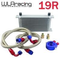 WLR STORE-AN10 OIL COOLER KIT 19RWOS TRANSMISSION OIL COOLER SILVER+OIL FILTER  ADAPTER BLUE + STAINLESS STEEL BRAIDED HOSE