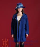 casacos femininos 2014 Hot Designs Women Winter Long  Trench Coat Autumn New Fashion Blue Wool Jacket Coat Free Shipping