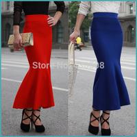 New winter tail wool knitting skirt elastic cultivate hip skirt of tall waist falbala skirts long warm skirts