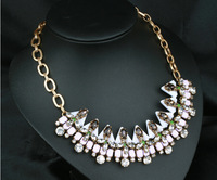 Iced Orchid Mixed Gems Pendant Crystal Necklace for Women Vintage Bib Statement Necklace
