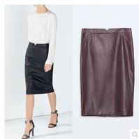 2014 brand pencil skirts Hitz retro leather skirt High pockets hip skirt