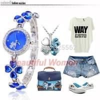 3pcs/lot 2014 New Arrivals Women Dress Watches Fashion Lucky Clover Wristwatches Ladies Wrist Watch SV007883