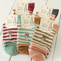 10 Pairs  Wholesale Women Girls New Style Teenagers Peter Rabbit Stripe Cotton Crew Socks Mix Colors Free Shipping