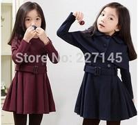 wholesale  fashion spring autumn winter children kid clothes clothing girl A line belt coat Shawl windbreaker jacket dress