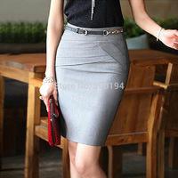2014 New Summer Women Slim Hip Career Short Skirts Ladies Sexy High Waist Knee-Length Pencil Skirt 4 Colors Plus Size