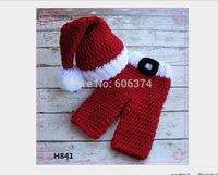 New Handmade Baby Christmas Hat Set Newborn Photo Props Fashion Christmas Gift  Knitted Crochet Beanie Cap Free Shipping