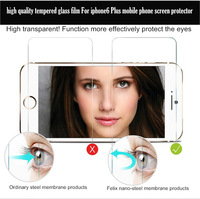 Free shipping high quality tempered glass film For iphone6 6 Plus mobile phone screen protector (1pcs)