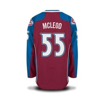 FREESHIPPING Avalanche #55 MCLEOD HOME RED  STITCHED ICE HOCKEY JERSEYS  SZ 48 50 52 54  M L XL XXL