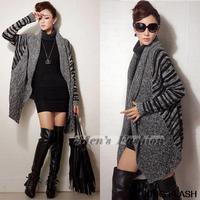 2014 New Fashion  Women Knitted  Long-Sleeved Batwing coat knitwear Striped cardigan wool ladies cardigan sweater SV010022 3F