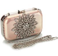 2014 New Collection Women Handbags Luxury Fashion Crystal Floral Evening Bag Shiny Mini Wedding Party Purse Ladies Bridal clutch