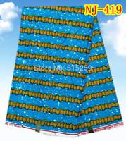 Lake blue color African batik fabric 100% cotton wax fabric NJ-419