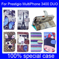 Cool cute cartoon painted leather case stand case for Prestigio MultiPhone 3400 DUO, gift